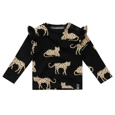 Wild Cheetah | Ruffle shoulder top